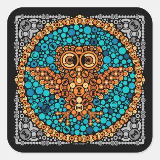 Wireless Owl, Color Perception Test, Black Square Sticker