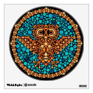 Wireless Owl, Color Perception Test, Black Wall Sticker