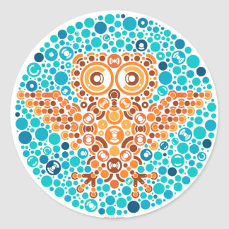 Wireless Owl, Color Perception Test Classic Round Sticker