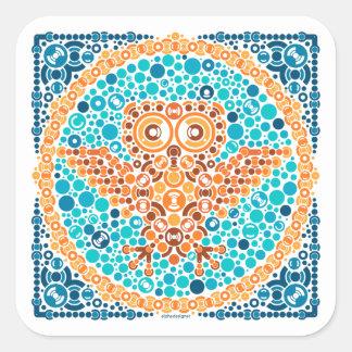 Wireless Owl, Color Perception Test, White Square Sticker