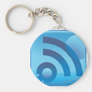 Wireless Signal Underwater Blue Icon Button Basic Round Button Keychain