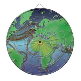 Wires of the World - Undersea Cables Dartboard With Darts