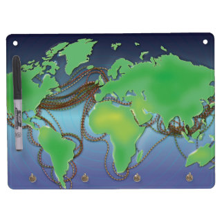 Wires of the World - Undersea Cables Dry Erase Board With Keychain Holder