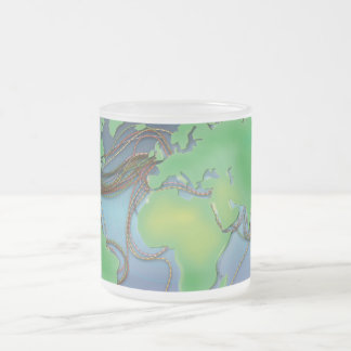 Wires of the World - Undersea Cables Frosted Glass Coffee Mug