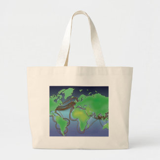 Wires of the World - Undersea Cables Large Tote Bag