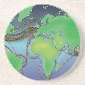 Wires of the World - Undersea Cables Sandstone Coaster
