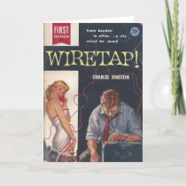 "Wiretap! Pulp Novel Greeting Card 5"" x 7"""