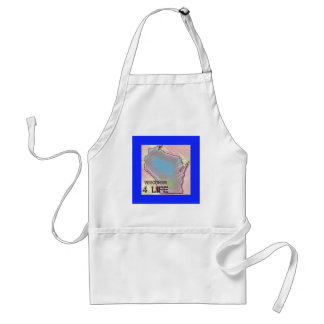 """Wisconsin 4 Life"" State Map Pride Design Adult Apron"