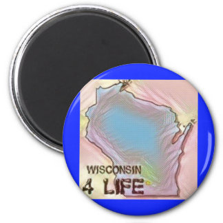 """""""Wisconsin 4 Life"""" State Map Pride Design Magnet"""