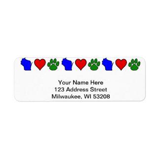 Wisconsin ama etiquetas de dirección de los mascot