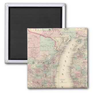 Wisconsin and Michigan 2 Inch Square Magnet