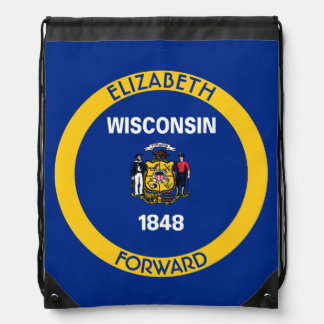 Wisconsin Badger State Personalized Flag Drawstring Bag