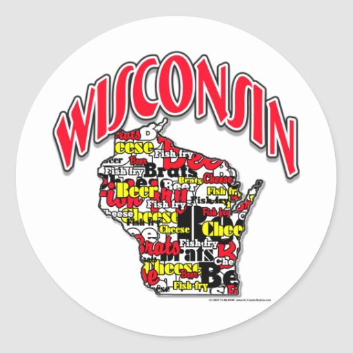 Wisconsin Beer Brats Cheese Fish-Fry Classic Round Sticker