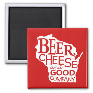 Wisconsin Beer Cheese & Good Company in Red White 2 Inch Square Magnet