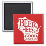 Wisconsin Beer Cheese & Good Company in Red White Fridge Magnets