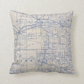 Wisconsin Bicycle Road Map 2 Pillow