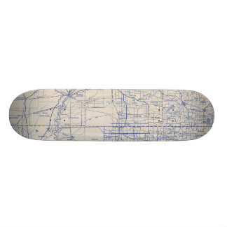 Wisconsin Bicycle Road Map 2 Skateboard Deck