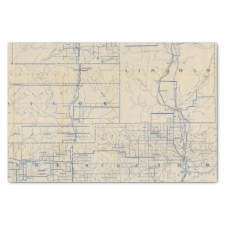 """Wisconsin Bicycle Road Map 3 10"""" X 15"""" Tissue Paper"""