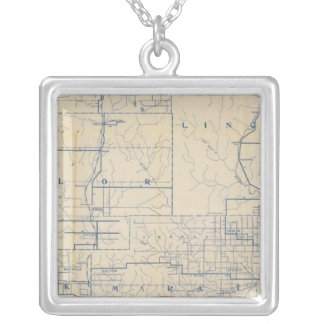 Wisconsin Bicycle Road Map 3 Silver Plated Necklace