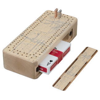 Wisconsin Bicycle Road Map 3 Wood Cribbage Board