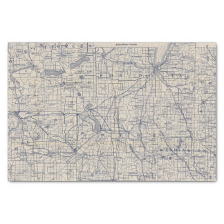 """Wisconsin Bicycle Road Map 4 10"""" X 15"""" Tissue Paper"""