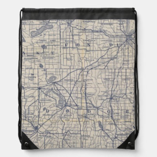 Wisconsin Bicycle Road Map 4 Drawstring Backpack