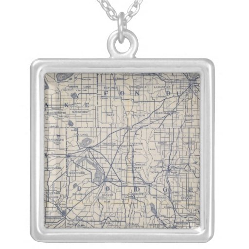 Wisconsin Bicycle Road Map 4 Square Pendant Necklace