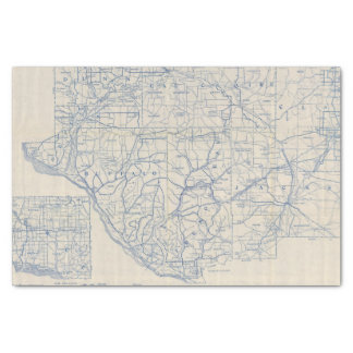 """Wisconsin Bicycle Road Map 6 10"""" X 15"""" Tissue Paper"""