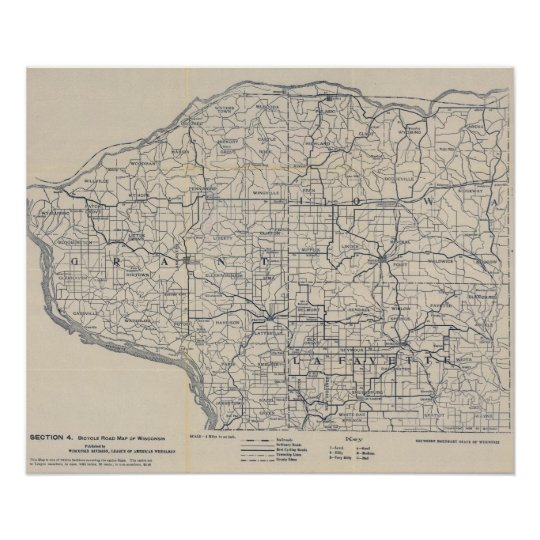 Wisconsin Bicycle Road Map 8 Poster