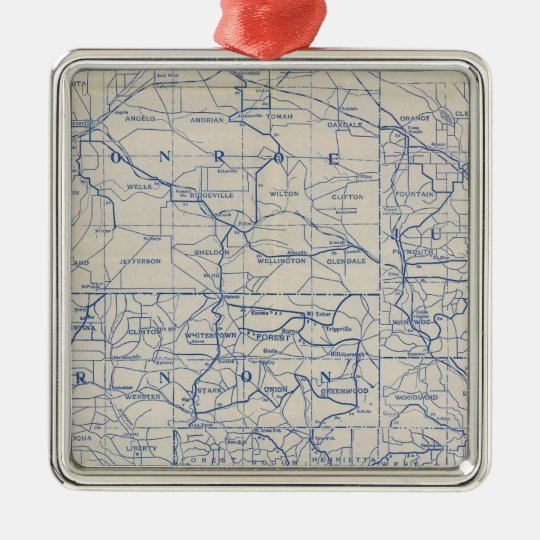 Wisconsin Bicycle Road Map Metal Ornament