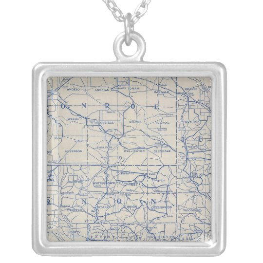 Wisconsin Bicycle Road Map Silver Plated Necklace
