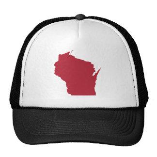 Wisconsin blanco y rojo gorras