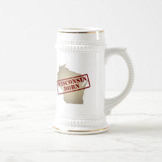 Wisconsin Born - Stamp on Map Beer Stein