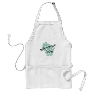 Wisconsin Boy on Child's Wisconsin Map Drawing Adult Apron