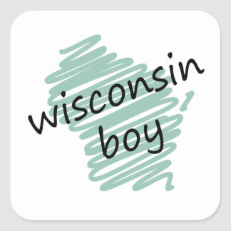 Wisconsin Boy on Child's Wisconsin Map Drawing Square Sticker