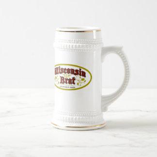 Wisconsin Brat Bier Stein 18 Oz Beer Stein