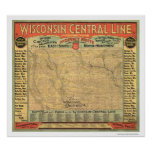 Wisconsin Central Railroad Map 1882 Posters