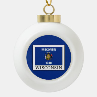 Wisconsin Ceramic Ball Christmas Ornament