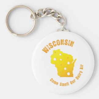 Wisconsin Come Smell Our Dairy Air Basic Round Button Keychain
