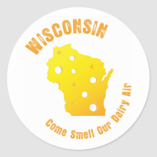 Wisconsin Come Smell Our Dairy Air Classic Round Sticker