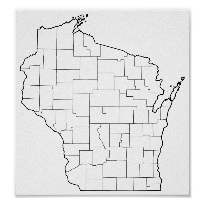 Wisconsin Counties Blank Outline Map Poster Zazzle Com