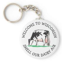 Wisconsin Cow Dairy Farmer Humor Key Chain