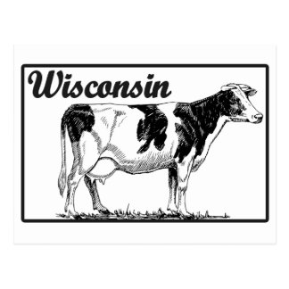 Wisconsin Cow design Post Cards