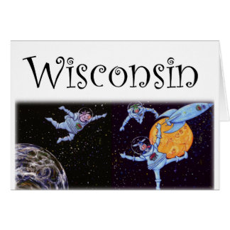 Wisconsin Cows in Space Card