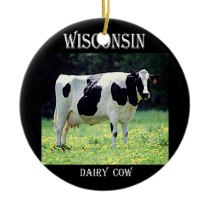 Wisconsin Dairy Cow Ceramic Ornament