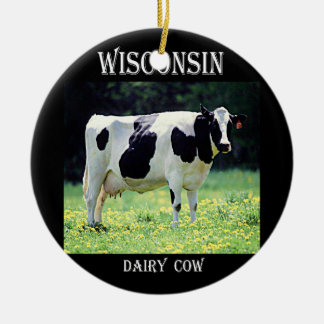 Wisconsin Dairy Cow Ceramic Ornament