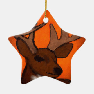 Wisconsin deer Double-Sided star ceramic christmas ornament