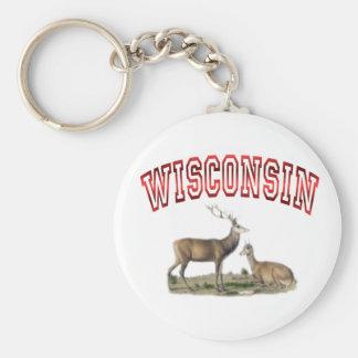 Wisconsin deer scene basic round button keychain