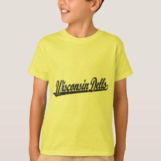 Wisconsin Dells script logo in black distressed T-Shirt
