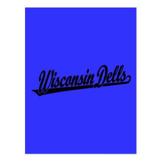 Wisconsin Dells script logo in black Postcard